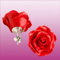 Ear pendants - red roses
