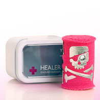 Bandage – pink, with skull