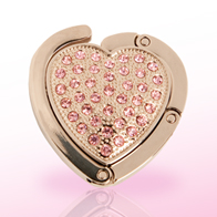 Handbag holder, heart-shaped with pink stones