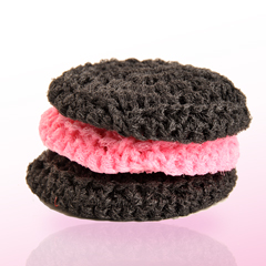 Steel-wool fluff - 2 black + 1 pink